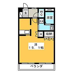 ブリリアントガーデン A 1階ワンルームの間取り