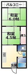 古川ハイツ 2階2DKの間取り