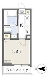 メルディア野方 2階1Kの間取り