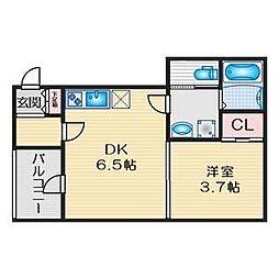 名鉄名古屋本線 山王駅 徒歩7分の賃貸アパート 2階1DKの間取り
