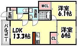 大阪府和泉市上町の賃貸アパートの間取り