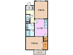 三重県四日市市東坂部町の賃貸アパートの間取り