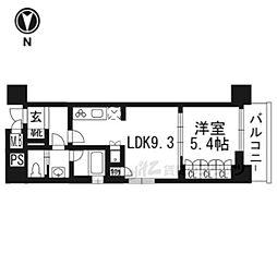 リーガル京都五条大宮603 6階1LDKの間取り