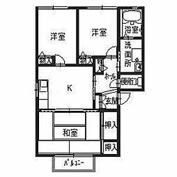 兵庫県姫路市網干区垣内東町の賃貸アパートの間取り