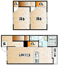 福岡県行橋市大字長木の賃貸アパートの間取り
