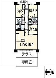 プラウド昭和楽園町テラス218[2階]の間取り