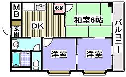 シャトー味谷[205号室]の間取り