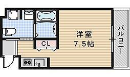 JR大阪環状線 天王寺駅 徒歩5分の賃貸マンション 7階ワンルームの間取り