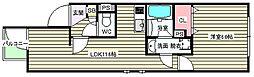 大阪府大阪市福島区鷺洲2丁目の賃貸アパートの間取り