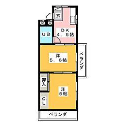 サンハイツ鶴羽[3階]の間取り