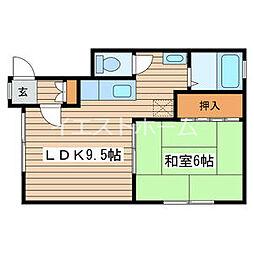 サンシャロンスII 2階1LDKの間取り