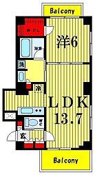 東京都墨田区本所3丁目の賃貸マンションの間取り