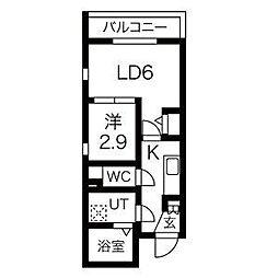 名古屋市営東山線 中村日赤駅 徒歩5分の賃貸マンション 3階1LDKの間取り
