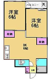 甲子ハイツ[102号室]の間取り