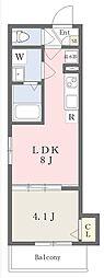 近鉄南大阪線 高見ノ里駅 徒歩4分の賃貸アパート 2階1LDKの間取り