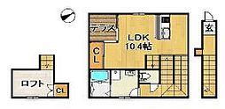 JR久大本線 久留米大学前駅 徒歩7分の賃貸アパート 2階ワンルームの間取り
