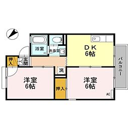 静岡県浜松市西区雄踏町宇布見の賃貸アパートの間取り