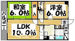 福岡県春日市弥生7丁目の賃貸マンションの間取り