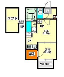 愛知県名古屋市西区天塚町2丁目の賃貸アパートの間取り