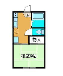 東京都町田市中町4の賃貸アパートの間取り