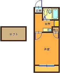 埼玉県深谷市桜ケ丘の賃貸アパートの間取り