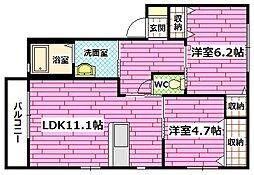 広島県安芸郡熊野町川角2の賃貸アパートの間取り