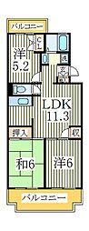 北柏グレースマンションB[3階]の間取り