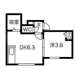 北海道札幌市中央区南一条東3丁目の賃貸アパートの間取り