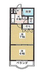 宮城県仙台市若林区六丁の目中町の賃貸マンションの間取り