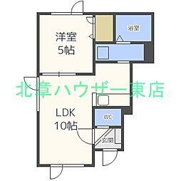 札幌市営東豊線 東区役所前駅 徒歩7分の賃貸アパート 1階1LDKの間取り