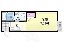 京都市営烏丸線 五条駅 徒歩8分の賃貸マンション 3階1Kの間取り