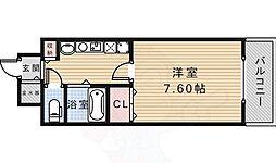 JR福知山線 宝塚駅 徒歩5分の賃貸マンション 2階1Kの間取り