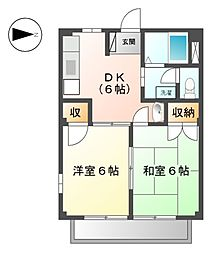愛知県稲沢市国府宮4丁目の賃貸アパートの間取り