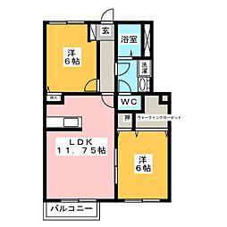 ハピネスキララA棟[1階]の間取り