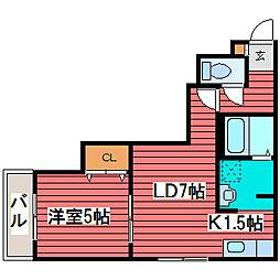 CASA札幌月寒[4階]の間取り
