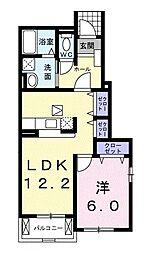 千葉県茂原市長谷の賃貸アパートの間取り