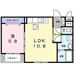 南海高野線 萩原天神駅 徒歩27分の賃貸アパート 1階1LDKの間取り