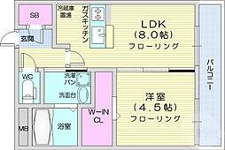 ウィステリア八幡 2階1LDKの間取り