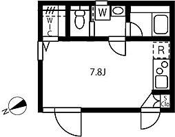 JR山手線 恵比寿駅 徒歩9分の賃貸マンション 2階ワンルームの間取り