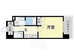 阪急宝塚本線 蛍池駅 徒歩12分の賃貸マンション 5階1Kの間取り