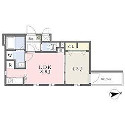 名古屋市営名城線 志賀本通駅 徒歩4分の賃貸アパート 1階1LDKの間取り