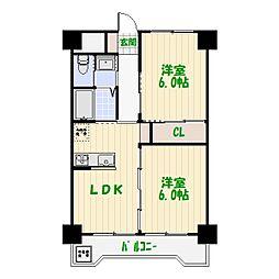 東京都葛飾区白鳥4丁目の賃貸マンションの間取り
