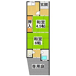 大阪府堺市美原区阿弥の賃貸アパートの間取り