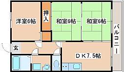 兵庫県明石市大久保町松陰の賃貸マンションの間取り