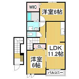 長野県茅野市本町西の賃貸アパートの間取り