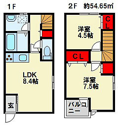 フィールド・イン湯川II C棟[102号室]の間取り