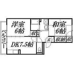 静岡県浜松市西区大平台3丁目の賃貸アパートの間取り