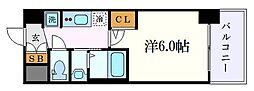 エステムコート名古屋金山ミッドクロス 9階1Kの間取り