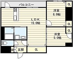 大阪府東大阪市寿町3丁目の賃貸マンションの間取り