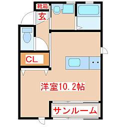 サードコア 1階ワンルームの間取り